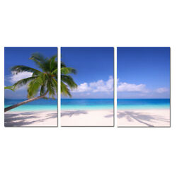 Large Modern Contemporary Canvas Wall Art Print Painting Palm Beach Seascape 3pc