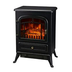 Electric Fireplace Wood Stove Black Space Heater 16 In W 1500 Watt Free Standing