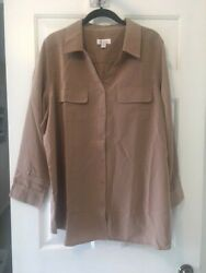 Denim And Co Roll Tab Sleeve Button Front Utility Tunic Mocha 1x