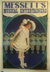 Original Vintage C.1910 Messetteand039s Musical Entertainers Poster Linen Backed