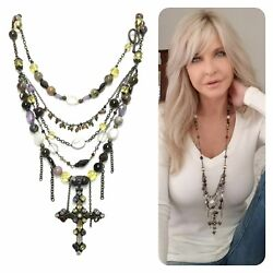 Multi-strand Sterling Silver Kinley Cross Necklace Tourmaline N Mixed Stones