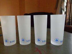 Vtg Tetley Tea Collectable 4 Frosted Glasses In Original Box Unused Advertising