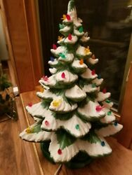 Vintage 1960's Or 70's Ceramic Light Up Christmas Tree 21 Inches Tall