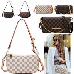 Women Checkered Leather Crossbody Purse Monogram Handbag Clutch Shoulder Bag $23.90