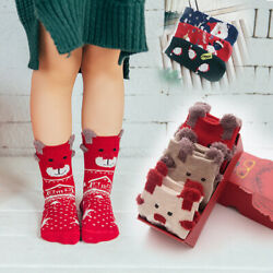 Christmas Socks Santa Claus Gift Box Kid Unisex Funny Deer Stocking Boys Girls