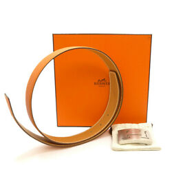 Authentic Hermes H Buckle Reversible Belt 75 Leather 32mm K In Square S311088