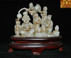 Rare Hetian White Jadeite Carved Tang Dynasty Belle Beauty People Servant Statue