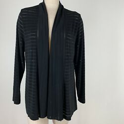 Chicos 3  travelers Knit  women's jacket open striped black size extra large