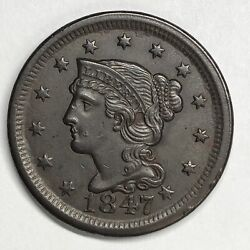 1847 Braided Hair Large Cent N-3 Ex Naftzger Cracked From Pcgs Au55 Holder