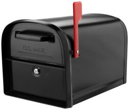 Large Metal Mailbox Black Locking Front And Back Access Doors Heavy Duty Mail Box
