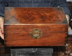 Antique Old China Huanghuali Wood Dynasty Jewelry Vessel Box Storage Chest Boxes