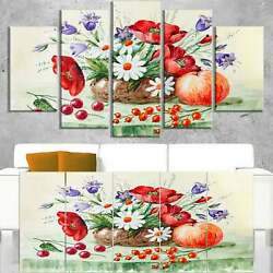 Colorful Bunch of Flowers and Fruits - Floral Canvas Art  Oversized