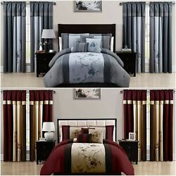 Chezmoi Collection Vienna 7-piece Floral Embroidery Comforter Set Or Curtain Set