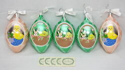 Lot 5 Waterford Easter Holiday Heirlooms Glass Egg Ornaments Spring Chicks W/tag