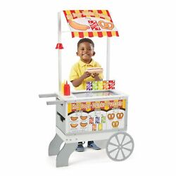 Ice Cream Cart for Kids Hotdog Food Sweets Stand Pretend Play 40 Play Food Pcs