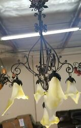 WROUGHT IRON CHANDELIER WITH YELLOW FLOWING BLOWN GLASS SHADES ART DECO