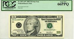 10 2003 D Federal Reserve Star Note Pmg Gem Unc F 2037 D Lucky Money Value 960