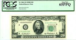 20 1950 B Federal Reserve Note Pmg Gem Unc F 2061 D Lucky Money Value 360