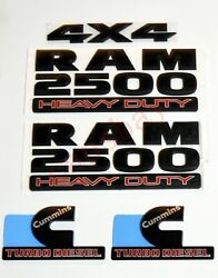 3x Oem Matte Black Ram 2500 Heavy Duty 4x4 Cummins Turbo Diesel Emblem Badges