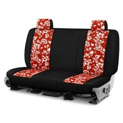For Ford F750 09-10 Dash Designs Hawaiian 1st Row Red W Black Custom Seat Covers