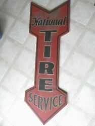 Vintage Rare Ca.early 1900and039s National Tire Service Gas Station 48 Metal Signvn