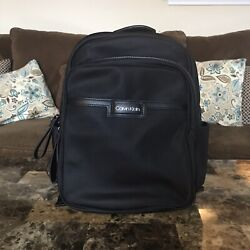 New Calvin Klein Lane Nylon Backpack Black Silver Backpack Bags 158.00 $30.00