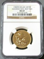 1980 Gold Belize 400 Minted 100 Moorish Idol Reef Fish Coin Ngc Mint State 69