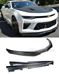 For 16-up Camaro Ss Rs Lt Front Bumper Lip And Side Skirts Carbon Fiber T6 Style