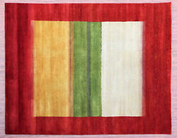9and039x12and039 Zollanvari Red Gabbeh Loribaft Rich Quality Handknotted 100 Woolen Rugs