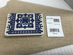 Brighton Casablanca Card Case-  leather- blue  white- embroidered design