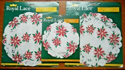 3 Packs Vintage Royal Lace 12 And 8 Paper Christmas Doilies Poinsettia Nip Usa