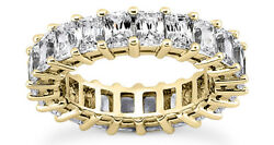12 ct Emerald Cut 18k Yellow Gold Diamond Band Eternity Ring H color VS size 7