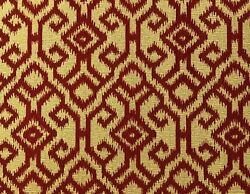 Designer Woven Rusty Red Beige Chenille Ikat Stain Resistant Upholstery Fabric