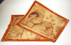 2 Antique Italian Egyptian Revival Tapestries 24 X 20 Highly Detailed