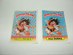 1985 Os2 50a And 50b Mad Donna And Nutty Nicole Garbage Pail Kids