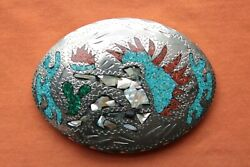 Vtg Turquoise Coral Abalone Inlay Indian Chief Fire Dancer Hand Made Belt Buckle