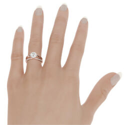 BAND DIAMOND RING ENGAGEMENT 18 KT ROSE GOLD RED SIDE STONES WOMEN 2.22 CARAT