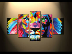Hand Painted on Canvas Wall Art Animal Colorful Lion Oil Painting Abstract Decor