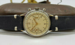 Rare Vintage Baume And Mercier Chronograph Silver Dialandnbsp Manand039s Watch