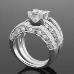 FILIGREE DIAMOND RING BAND SIDE STONES 1.96 CARATS 4 PRONG WOMEN 18K WHITE GOLD