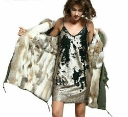 Ladies Coat Jacket Fur Hooded Winter Outwear Thick Warm Cotton Woven Jackets New