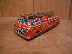 Tinplate Litho Fire Dept Truck Made In Japan 006