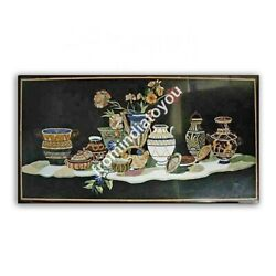 25x50 Black Marble Dining Table Top Flower Vase Pietra Dura Inlay Decors E973