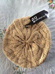 NWT Cable Knit Camel Tan Beret Winter Hat Women's Acrylic