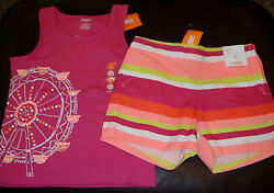 Gymboree Bright and Beachy Ferris Wheel top & striped shorts set NWT 6