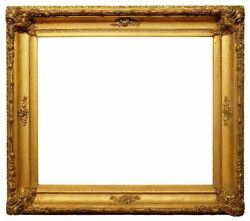 American 1850 Gilded Scoop Picture Frame With Corner Ornament 25x29 Sku 1057