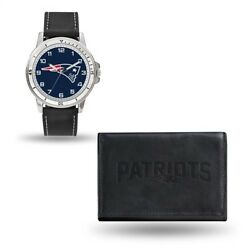 Nfl New England Patriots Mens Leather Watch/wallet Set Style Gc4832 60.90