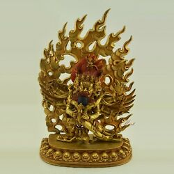 Hand Face Painted Gold Gilded 16andrdquo Vajrakilaya Copper Statue From Patan Nepal