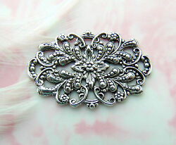Antique Silver 2 Pieces Filigree Crest Floral Stamping Oxidized Fb-6097