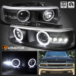 For 1999-2002 Chevy Silverado Tahoe Black Led Halo Projector Headlights Lamps